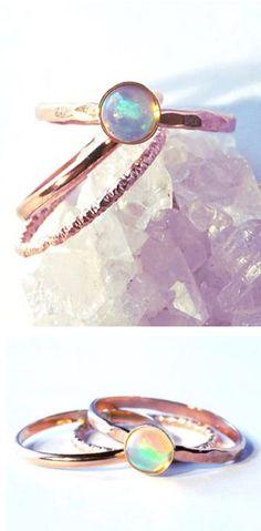 Opal Ring Stacking Set ❤︎