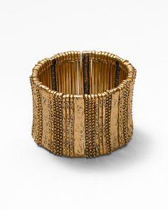 Hammered metal stretch bracelet