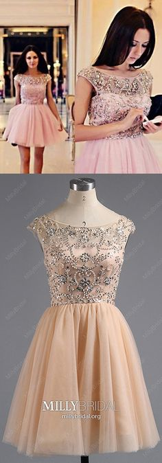 Pink Homecoming Dresses Short, A Line Homecoming Dresses Tulle, Beading Homecoming Dresses Sparkly, Crystal Homecoming Dresses Elegant Spring Formal Dresses, Dresses Elegant, Dresses Short, Formal Dresses For Weddings, Formal Prom, Wedding Dresses, Prom Dresses Online, Pageant Dresses, Dresses For Teens