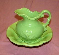 Vintage McCoy Pottery Green Pitcher and Basin