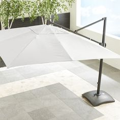 10' Sunbrella ® White Sand Square Cantilever Umbrella - Crate and Barrel
