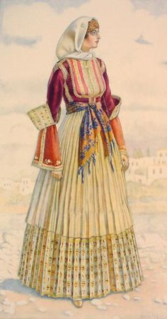 NICOLAS SPERLING Bridal Dress (Aegean Islands, Skiathos) 1930 lithograph on paper after original watercolour Greek Traditional Dress, Traditional Fashion, Traditional Outfits, Costume Shop, Folk Costume, Skiathos, Greek Dress, Greek Culture, Period Outfit