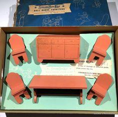Strombecker RARE 1938 MODERN DINING ROOM in BOX Vintage Dollhouse Furniture 1:16 #Strombecker