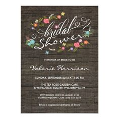Shabby Chic Wedding Invitations Floral Wreath Rustic Wood Bridal Shower Invites