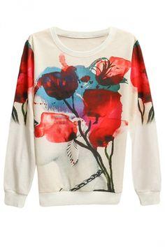 Flower Beauty Printed Pullover Long Sleeve Sweatshirt Red