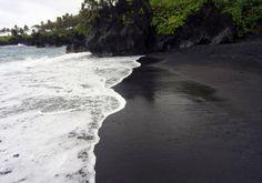 Black Sand Beach Punaluu Is A Between Pahala And