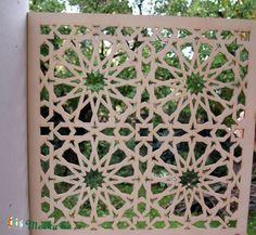 Meska - Marokkói mintás, natúr fa pergola, térelválasztó, falidísz, lámpabúra Cerving kézművestől