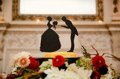 silhouette cake topper, photo by The Melideos http://ruffledblog.com/alder-manor-wedding-with-a-green-dress #caketopper