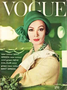 Vintage Vogue cover (February, 1961) featuring Wilhelmina Cooper
