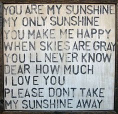 you are my sunshine : print on wood with vintage wood frame.