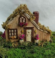 Miniature Fairy Garden House Terrarium Cottage Lawn Statue With Moss U0026  Flowers. Perfect Addition To