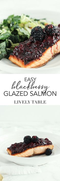 This easy blackberry glazed salmon is a quick and delicious way to get in more heart-healthy omega-3s and antioxidants. Made with only 6 ingredients and in 15 minutes, you can get a healthy dinner on the table quickly! (#glutenfree, #dairyfree, #nutfree) #salmon #blackberries #antioxidants #omegas3 #dinner
