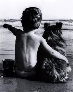 Cute boy with dog / Animal Best Friends Black & White Photography