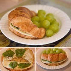 Croissant + provalone cheese + basil + a little mayo + garlic = YUM!
