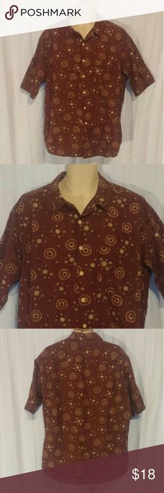 VTG J Crew Brown Patterned Mens Shirt L From the early 1990s. Brown and tan patterned shirt. Short sleeve. Button front. 100% cotton. Posh6 J. Crew Shirts Casual Button Down Shirts