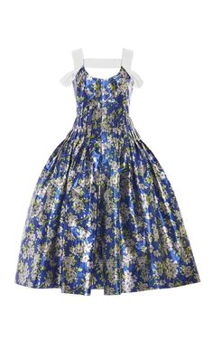 Floral Pleated Lurex Dress by DELPOZO Now Available on Moda Operandi
