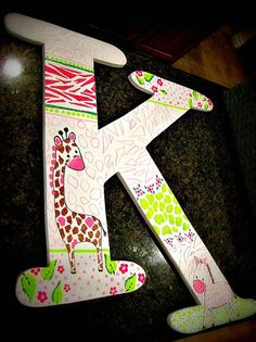 24 hand painted letter by PoshPixieDesign on Etsy, $45.00