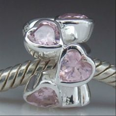 Pink Love Heart Lights with CZ Charm Authentic Sterling Silver Solid Core Charms