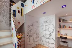 I-BEAM Architecture designed an apartment interior that features a staircase made of LEGO