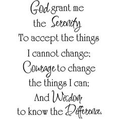 Design on Style 'God Grant Me the Serenity' Black Vinyl Wall Art Quote - 12708112 - Overstock - The Best Prices on Design on Style Quotes & Sayings - Mobile Serenity Quotes, Serenity Prayer, Great Quotes, Quotes To Live By, Inspirational Quotes, Motivational Quotes, Word Up, Religious Quotes, Spiritual Quotes