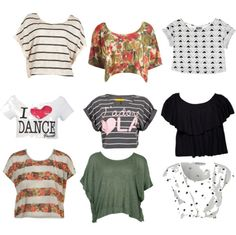 Cute crop tops...... I really want the dance one