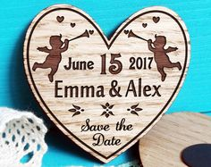 Wood Save-The-Date Magnets-Engraved Wooden Wedding Magnets-Laser Cut Rustic Handmade Save the Date-Heart save the dates magnet-Angels-Cherub