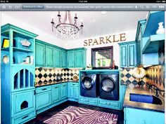 Greatest laundry room EVER!  By Amanda Stephenson, owner of Design Studio 2010 courtesy of statesman.com.