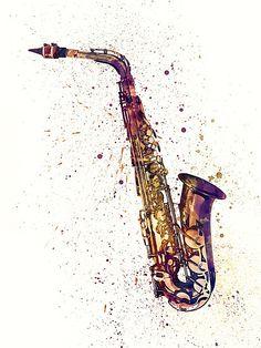 Music tattoo saxophone instruments 55 Ideas for 2019 Abstract Watercolor Art, Watercolor Print, Watercolor Tattoos, Framed Prints Uk, Art Prints, Francisco Brennand, Saxophone Instrument, Music Drawings, Jazz Art