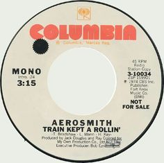 """""""Train Kept A-Rollin'"""" is the 5th single by AEROSMITH. It was released on October 24, 1974."""