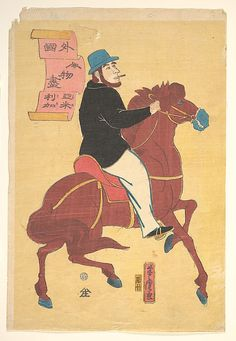 Utagawa Yoshitora (Japanese, active ca. 1850–80). An American on Horseback, ca. 1861. The Metropolitan Museum of Art, New York. Gift of Lincoln Kirstein, 1959 (JP3183) #horses