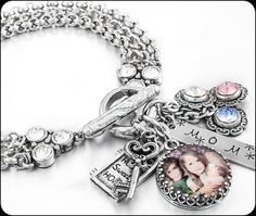 Mothers Photo Bracelet, Picture Jewelry, Personalized Photo Charms, Family and Children Bracelet Photo Charm Bracelet, Silver Charm Bracelet, Silver Charms, Mom Jewelry, Photo Jewelry, Jewelry Bracelets, Silver Jewelry, Silver Bracelets, Jewelry Ideas