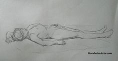 """""""Reclining Man"""", pencil/graphite drawing 2008 after Charles Bargue 7"""" x 12.5"""""""