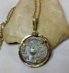 Statement Necklace, Bar Kochva Coin Pendant, 18 kt solid Gold and ancient authentic Bar Kochva coin