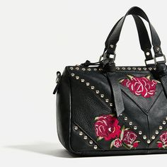 Image 3 of EMBROIDERED LEATHER BOWLING BAG from Zara