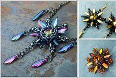 Starburst Pendant Necklace & Earrings Matubo Beads Japanese Seed Beads Jewelry Making Beaded Pendant