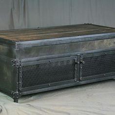 Vintage Industrial Lift Top Coffee Table. Reclaimed Wood & Steel. Metal Patina. Barnwood. by Lee Cowen
