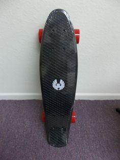 "Penny Style Black & Red 22.5"" x 6"" Plastic Banana Board Mini Cruiser Skateboard"