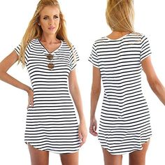 Elecenty Damen Hemdkleid T-Shirt Blusekleid T-Shirtkleid Sommerkleid  Kleider Frauen Rundhals Kurzarm Mode 8a4201f0e5