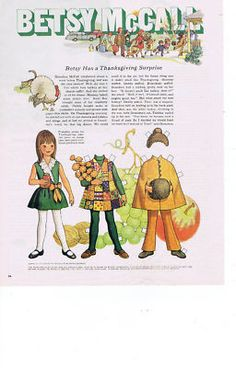 ORIGINAL Betsy McCall Paper Doll-Thanksgiving Surprise 11-69