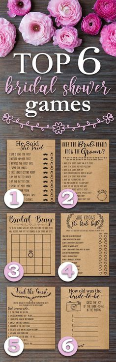 Top 6 Bridal Shower Games. Fun, Rustic, funny, bridal shower games. Perfect for a wedding shower with a country, barn, outdoors, bohemian, rustic theme.