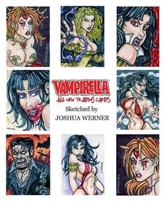 Official Dynamite Comics Vampirella trading card set featuring original sketch cards by Joshua Werner.