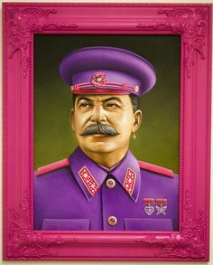 Adolf Hitler, Kim Jong-il and Joseph Stalin have all been given pink uniforms in these funny paintings by American artist Scott Scheidly. Chewbacca, Kitsch, Art Institute Of Pittsburgh, Spoke Art, Joker, Barbie, Portraits, Portrait Paintings, Pop Surrealism