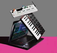 From top, the Teenage Engineering OP-1, Akai MPK Mini, and the Asus Republic of Gamers laptop are all pieces of Hudson Mohawke's mobile studio.