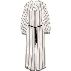 Zimmermann Aerial tasseled striped cotton-voile dress ($485) ❤ liked on Polyvore featuring dresses, grey, sleeved dresses, tassel dress, grey striped dress, boho dresses and loose dresses