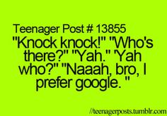 Funny Text Knock Knock Jokes 47 15 Teenager Posts that Will Make You Lose Faith In Humanity 9gag Funny, Funny Relatable Memes, Funny Jokes To Tell, Cheesy Jokes, Corny Jokes, Funny Teen Posts, Cute Teenager Posts, Relatable Teenage Posts, Funny Teen Quotes