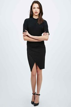 Sparkle & Fade Quilted Midi Pencil Skirt in Black