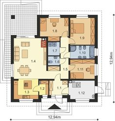 DOM.PL™ - Projekt domu ARP TRYTON 3 B CE - DOM AP2-28 - gotowy koszt budowy Bungalow, House Plans, Villa, Floor Plans, How To Plan, Architecture, Case, Houses, Home Plans