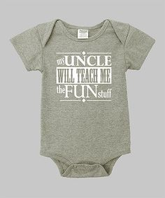 This Heather Gray My Uncle Bodysuit Infant by Small Plum is perfect! - Uncle Shirts Funny - Ideas of Uncle Shirts Funny - This Heather Gray My Uncle Bodysuit Infant by Small Plum is perfect! this is for uncle Darik Funny Baby Clothes, Funny Babies, Funny Onesies For Babies, Baby Boys Clothes, Baby Outfits, Uncle Onesie, Cadeau Parents, Everything Baby, Baby Shirts