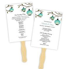 Wedding Program Fan Template  Teal Hanging Lanterns by AJsPrints, $8.00