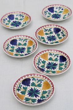 vintage Maastricht Societe Ceramique pottery bowls, Holland gaudy dutch stick spatter china